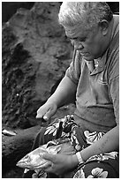 Elder Samoan subsistence fisherman, Tau Island. National Park of American Samoa (black and white)