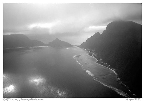 Aerial view of Ofu and Olosega Islands. National Park of American Samoa (black and white)