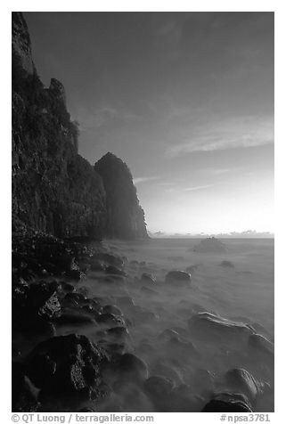 Tall seacliffs, Pola island,  Tutuila. National Park of American Samoa (black and white)