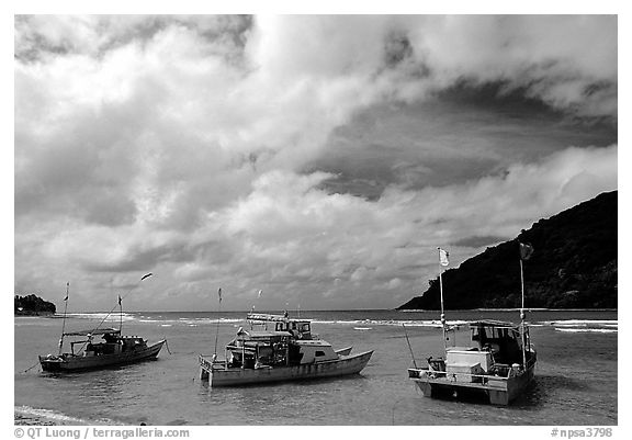 Fishing boats in Vatia Bay, Tutuila Island. National Park of American Samoa (black and white)