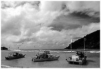 Fishing boats in Vatia Bay, Tutuila Island. National Park of American Samoa ( black and white)