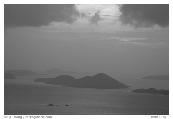 Sunset over small islands. Saint John, US Virgin Islands (black and white)