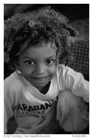 Native child. Saint John, US Virgin Islands (black and white)