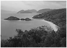 Trunk Bay at dusk. Virgin Islands National Park, US Virgin Islands. (black and white)