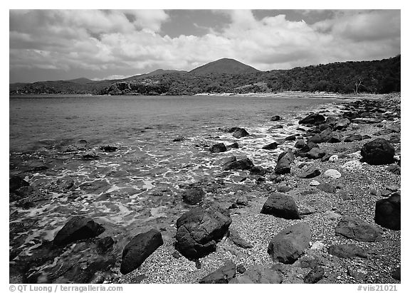 Gravel beach and rocks. Virgin Islands National Park (black and white)