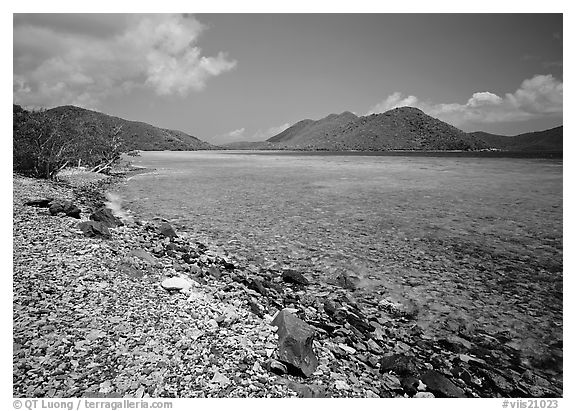 Turquoise waters in Leinster Bay. Virgin Islands National Park (black and white)