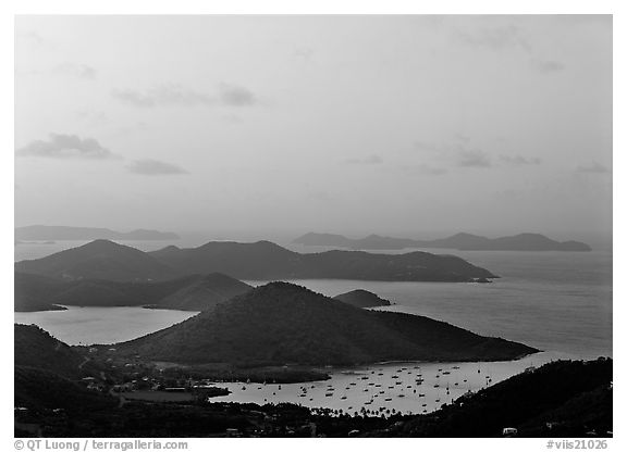 Hills, harbor and boats at sunrise, Coral bay. Virgin Islands National Park (black and white)