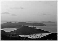 Hills, harbor and boats at sunrise, Coral bay. Virgin Islands National Park ( black and white)
