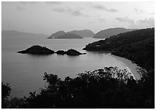 Trunk bay at sunrise. Virgin Islands National Park ( black and white)