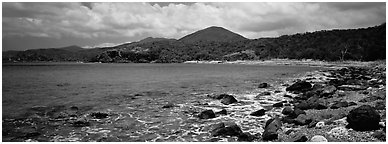Bay lined with boulders and verdant hills. Virgin Islands National Park (Panoramic black and white)