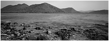 Tropical seascape. Virgin Islands National Park (Panoramic black and white)