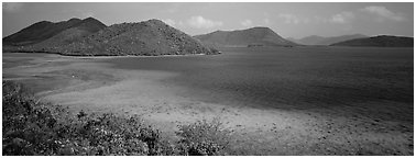 Tropical turquoise waters and green hills. Virgin Islands National Park (Panoramic black and white)