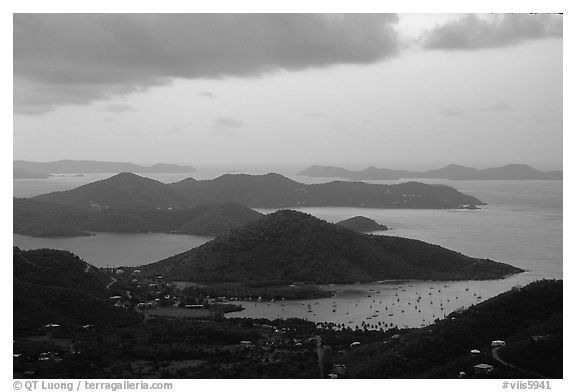 Coral Harbor seen from Centerline Road, sunrise. Virgin Islands National Park (black and white)