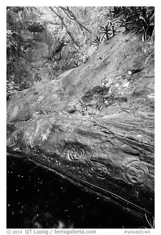Taino petroglyphs. Virgin Islands National Park (black and white)