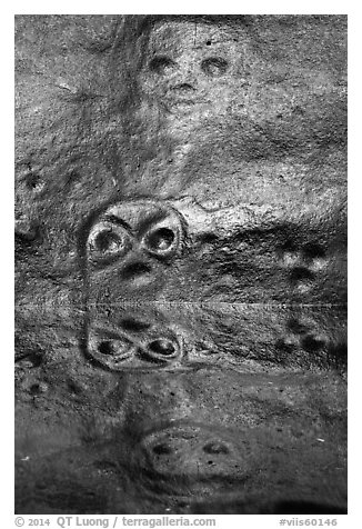 Petroglyph and reflections. Virgin Islands National Park (black and white)