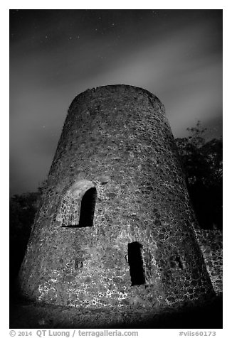 Catherineberg Sugar Mill at night. Virgin Islands National Park (black and white)