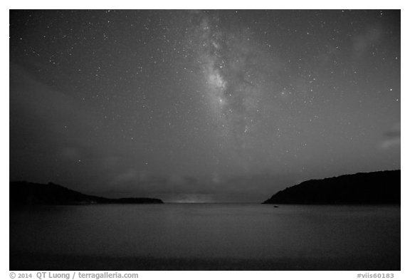 Milky Way and starry sky at night, Little Lameshur Bay. Virgin Islands National Park (black and white)