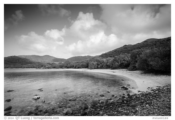 Little Lameshur beach. Virgin Islands National Park (black and white)