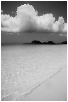 Sand, urquoise waters, and Trunk Cay, Trunk Bay. Virgin Islands National Park ( black and white)