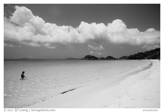 Visitor looking, Trunk Bay beach. Virgin Islands National Park (black and white)
