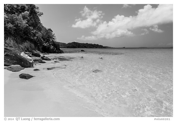 White sandy beach and turquoise waters, Trunk Bay. Virgin Islands National Park (black and white)