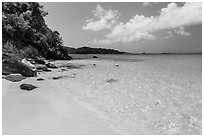 White sandy beach and turquoise waters, Trunk Bay. Virgin Islands National Park ( black and white)