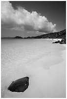 Tropical beach with white sand and turquoise waters, Trunk Bay. Virgin Islands National Park ( black and white)