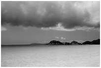 Turquoise waters, Trunk Cay, and dark clouds. Virgin Islands National Park ( black and white)