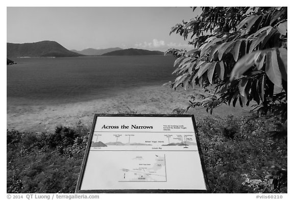 Leinster Bay and Narrows interpretive sign. Virgin Islands National Park (black and white)