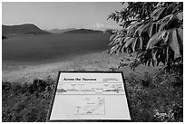 Leinster Bay and Narrows interpretive sign. Virgin Islands National Park ( black and white)