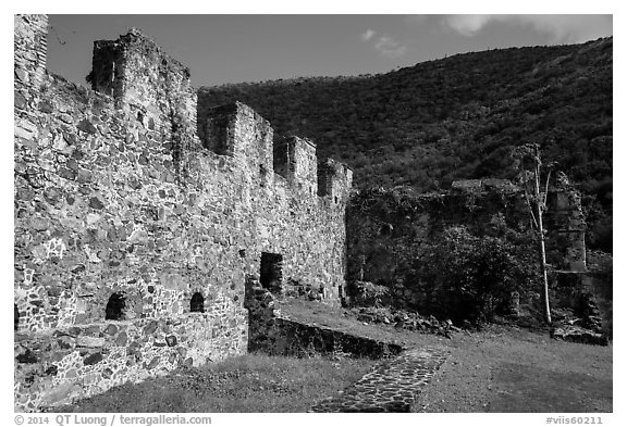 Annaberg Sugar Mill ruins. Virgin Islands National Park (black and white)