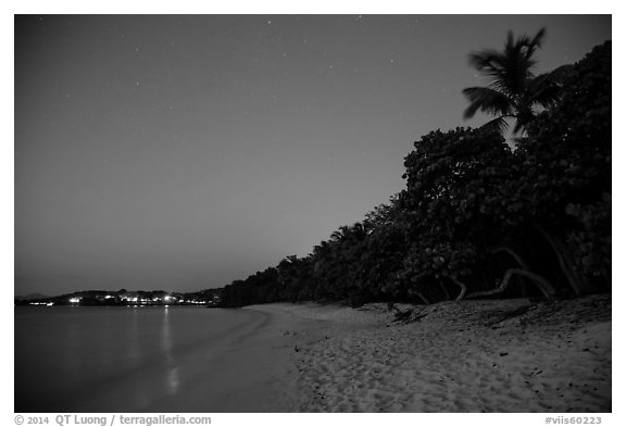 Honeymoon beach at night. Virgin Islands National Park (black and white)