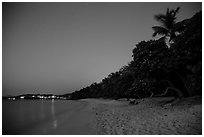 Honeymoon beach at night. Virgin Islands National Park ( black and white)