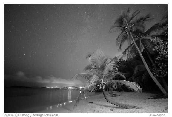 Salomon beach at night. Virgin Islands National Park (black and white)