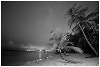 Salomon beach at night. Virgin Islands National Park ( black and white)