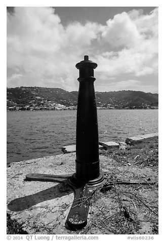 Cannon used as post, Hassel Island. Virgin Islands National Park (black and white)