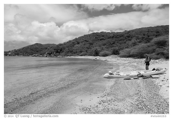 Kayaker on beach, Hassel Island. Virgin Islands National Park (black and white)