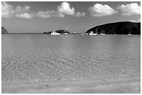 Beach and yachts, Maho Bay. Virgin Islands National Park ( black and white)