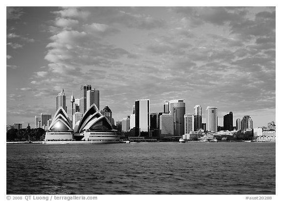 Opera house and city skyline. Sydney, New South Wales, Australia (black and white)
