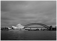 Opera House and Harbor Bridge. Sydney, New South Wales, Australia (black and white)