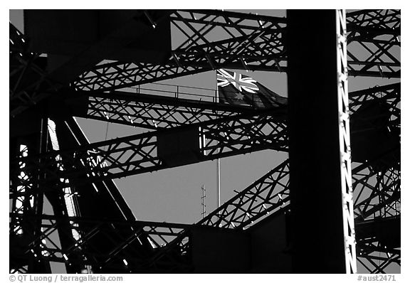 Harbour bridge detail with Australian flag. Sydney, New South Wales, Australia (black and white)