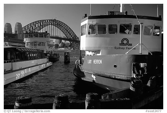Ferries with Harbor bridge in the background. Sydney, New South Wales, Australia (black and white)