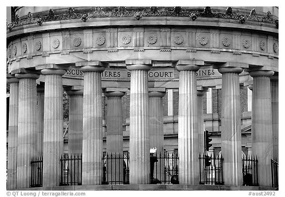 Greek revivalist cenotaph, Anzac Square. Brisbane, Queensland, Australia (black and white)