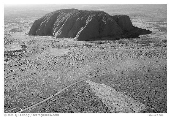 Black and white picture photo aerial view of ayers rock uluru kata tjuta national park northern territories australia