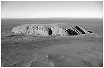 Aerial view of Ayers Rock. Uluru-Kata Tjuta National Park, Northern Territories, Australia (black and white)
