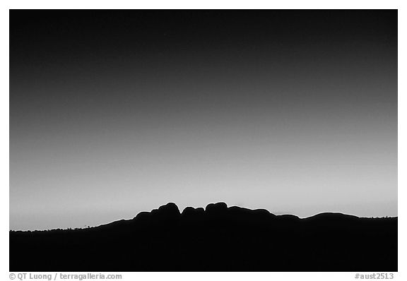 Olgas at dawn. Olgas, Uluru-Kata Tjuta National Park, Northern Territories, Australia (black and white)