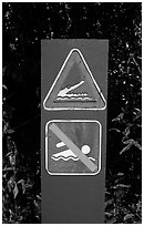 Sign warning of crocodiles. Australia (black and white)