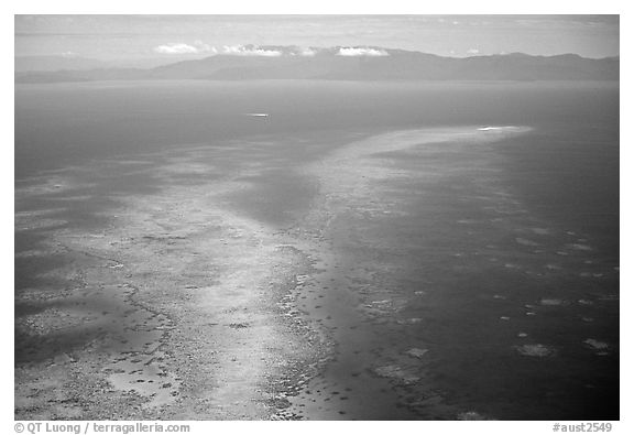 Aerial view of an island  near Cairns. The Great Barrier Reef, Queensland, Australia (black and white)