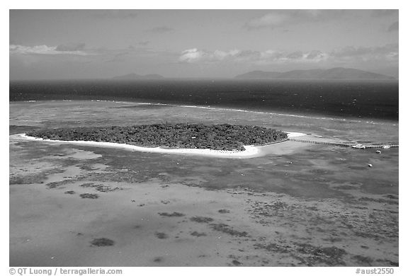 Aerial view of a sand bar  near Cairns. The Great Barrier Reef, Queensland, Australia (black and white)
