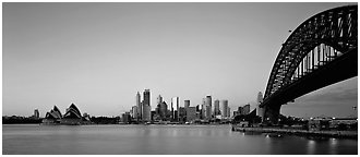 Sydney skyline at dawn. Sydney, New South Wales, Australia (Panoramic black and white)